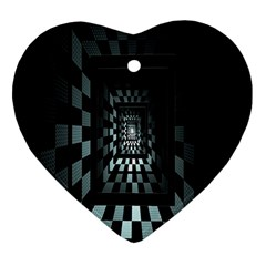 Optical Illusion Square Abstract Geometry Heart Ornament (two Sides)
