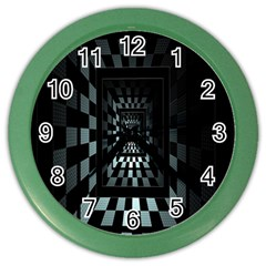 Optical Illusion Square Abstract Geometry Color Wall Clocks