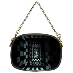 Optical Illusion Square Abstract Geometry Chain Purses (One Side)