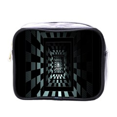 Optical Illusion Square Abstract Geometry Mini Toiletries Bags