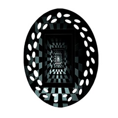 Optical Illusion Square Abstract Geometry Oval Filigree Ornament (two Sides)