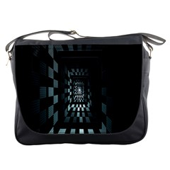 Optical Illusion Square Abstract Geometry Messenger Bags