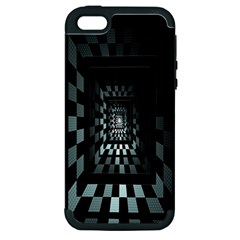 Optical Illusion Square Abstract Geometry Apple iPhone 5 Hardshell Case (PC+Silicone)