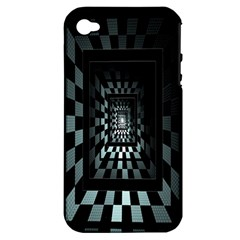 Optical Illusion Square Abstract Geometry Apple Iphone 4/4s Hardshell Case (pc+silicone)