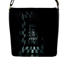 Optical Illusion Square Abstract Geometry Flap Messenger Bag (l)