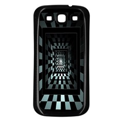 Optical Illusion Square Abstract Geometry Samsung Galaxy S3 Back Case (Black)