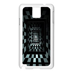 Optical Illusion Square Abstract Geometry Samsung Galaxy Note 3 N9005 Case (White)