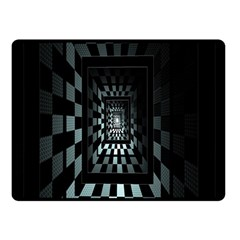 Optical Illusion Square Abstract Geometry Double Sided Fleece Blanket (Small)