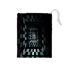 Optical Illusion Square Abstract Geometry Drawstring Pouches (medium)