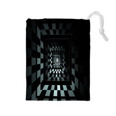 Optical Illusion Square Abstract Geometry Drawstring Pouches (Large)
