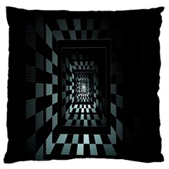 Optical Illusion Square Abstract Geometry Large Flano Cushion Case (Two Sides)