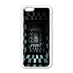 Optical Illusion Square Abstract Geometry Apple iPhone 6/6S White Enamel Case