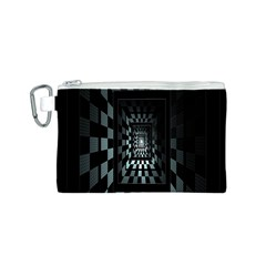 Optical Illusion Square Abstract Geometry Canvas Cosmetic Bag (S)