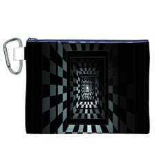 Optical Illusion Square Abstract Geometry Canvas Cosmetic Bag (XL)