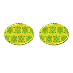 Floral Flower Star Sunflower Green Yellow Cufflinks (oval)
