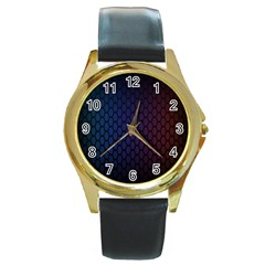 Hexagon Colorful Pattern Gradient Honeycombs Round Gold Metal Watch
