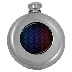 Hexagon Colorful Pattern Gradient Honeycombs Round Hip Flask (5 Oz)