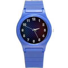 Hexagon Colorful Pattern Gradient Honeycombs Round Plastic Sport Watch (S)