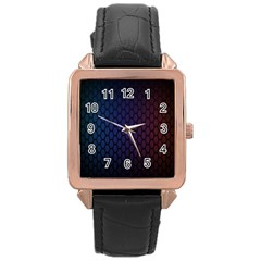 Hexagon Colorful Pattern Gradient Honeycombs Rose Gold Leather Watch