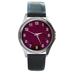 Abstract Purple Pattern Round Metal Watch