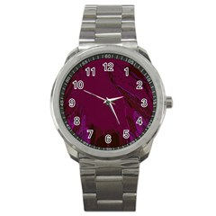 Abstract Purple Pattern Sport Metal Watch