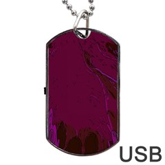 Abstract Purple Pattern Dog Tag Usb Flash (two Sides)