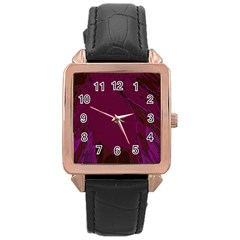 Abstract Purple Pattern Rose Gold Leather Watch