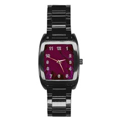 Abstract Purple Pattern Stainless Steel Barrel Watch