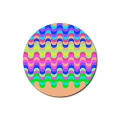 Dna Early Childhood Wave Chevron Woves Rainbow Rubber Round Coaster (4 Pack)