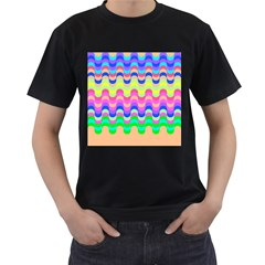 Dna Early Childhood Wave Chevron Woves Rainbow Men s T Shirt (black) (two Sided)