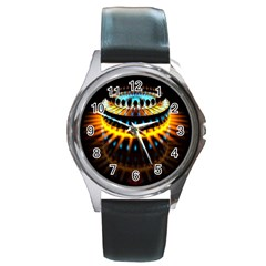 Abstract Led Lights Round Metal Watch