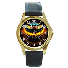 Abstract Led Lights Round Gold Metal Watch