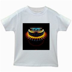 Abstract Led Lights Kids White T Shirts