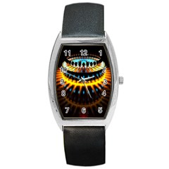 Abstract Led Lights Barrel Style Metal Watch