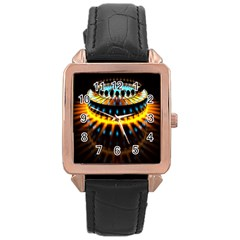 Abstract Led Lights Rose Gold Leather Watch
