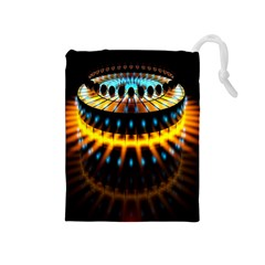 Abstract Led Lights Drawstring Pouches (Medium)