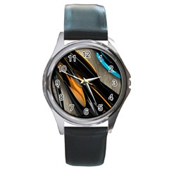 Abstract 3d Round Metal Watch