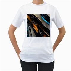 Abstract 3d Women s T Shirt (white) (two Sided)