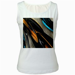 Abstract 3d Women s White Tank Top