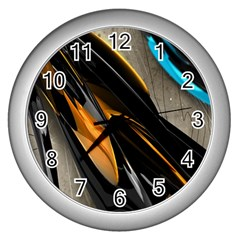 Abstract 3d Wall Clocks (Silver)