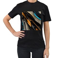 Abstract 3d Women s T Shirt (black) (two Sided)