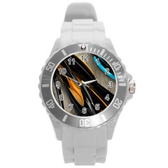 Abstract 3d Round Plastic Sport Watch (L)