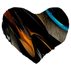 Abstract 3d Large 19  Premium Heart Shape Cushions