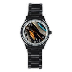 Abstract 3d Stainless Steel Round Watch