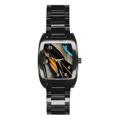 Abstract 3d Stainless Steel Barrel Watch