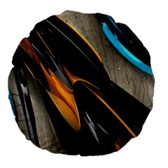 Abstract 3d Large 18  Premium Flano Round Cushions