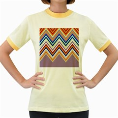 Chevron Wave Color Rainbow Triangle Waves Grey Women s Fitted Ringer T Shirts