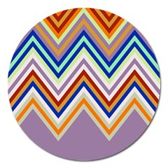 Chevron Wave Color Rainbow Triangle Waves Grey Magnet 5  (round)