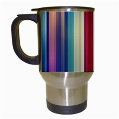 Texture Lines Vertical Lines Travel Mugs (White)