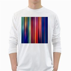 Texture Lines Vertical Lines White Long Sleeve T-Shirts